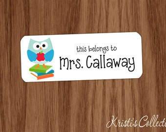 This belongs to Labels Stickers - Custom Personalized Back to School Gift - Owl Books Teacher Gifts - This book belongs to