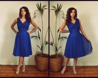 SALE! Gorgeous Vintage Homemade Royal Blue Chiffon 1950's Evening Dress Size Large