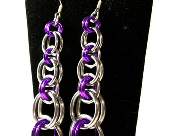 Silver & Purple Chainmaille Earrings - Aluminum - Tapered Helm - Chainmaille Jewelry