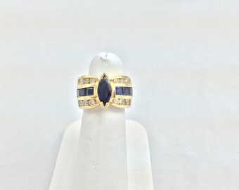 Ladies 14kt Yellow Gold Sapphire and Diamond Ring