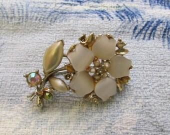 1950s Lucite, faux pearl & Aurora Borealis flower brooch