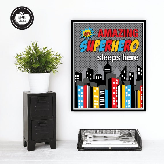 Boys Superhero Room Decor: SUPERHERO Wall Art Printable Boys Nursery By RedAppleStudio