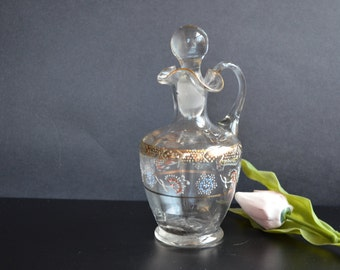Victorian Glass Cruet Hand Blown Hand Painted with Enamel Decoration