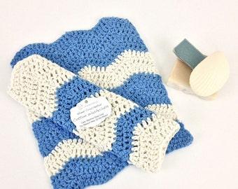 Chevron Wash Cloth Set of 2 Denim Blue Cream Chevron Washcloths Cotton Crochet Dishcloths Large Blue White Striped Knit Dish Cloth Set Gift