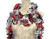 Black Red Crochet Ruffled Scarf, Crocheted Scarf, Woman's Scarf, Handmade Scarf, Starbella Scarf, Fashion Scarf. Gifts for Her, Ruffle Boa