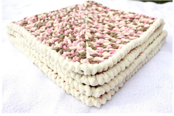 Crochet Chenille Baby Blanket Pattern : Pink and Brown Baby Blanket Crochet Baby by ...