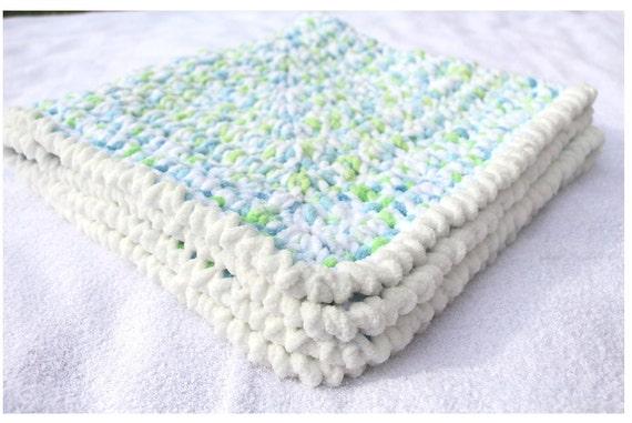Crochet Chenille Baby Blanket Pattern : Blue Baby Blanket Crochet Baby Blankets Chenille Baby by ...