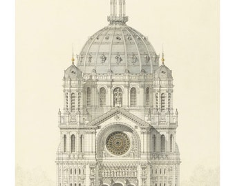 Handmade architectural drawing etsy for Printing architectural drawings
