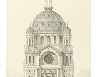 Handmade architectural drawing etsy for Print architectural drawings