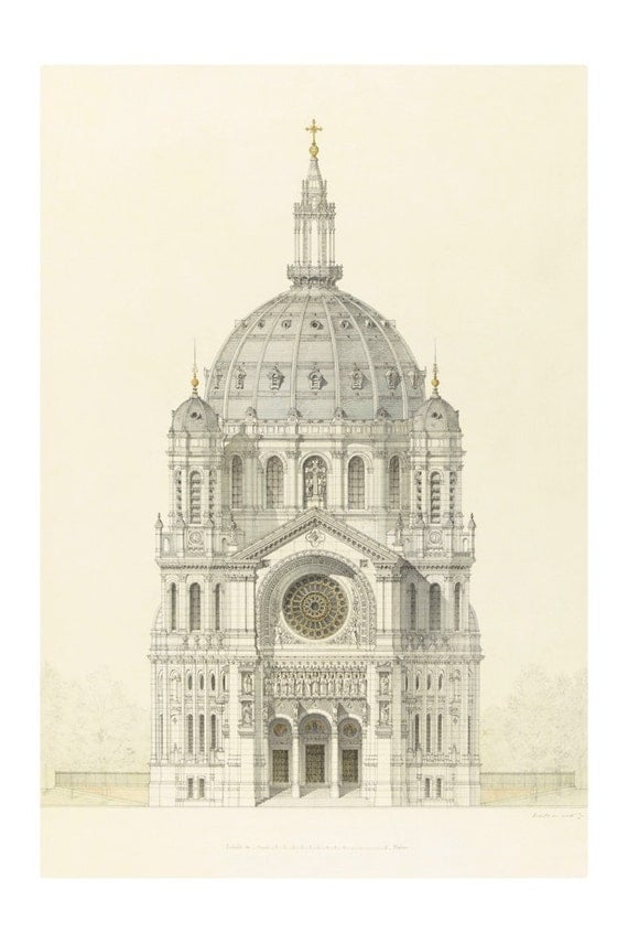 Vintage Architectural Print Church Of Saint Augustin