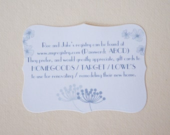 Set of 15 Registry Card - Wedding Registry Card - Lingerie Wishing Well - Hootsie