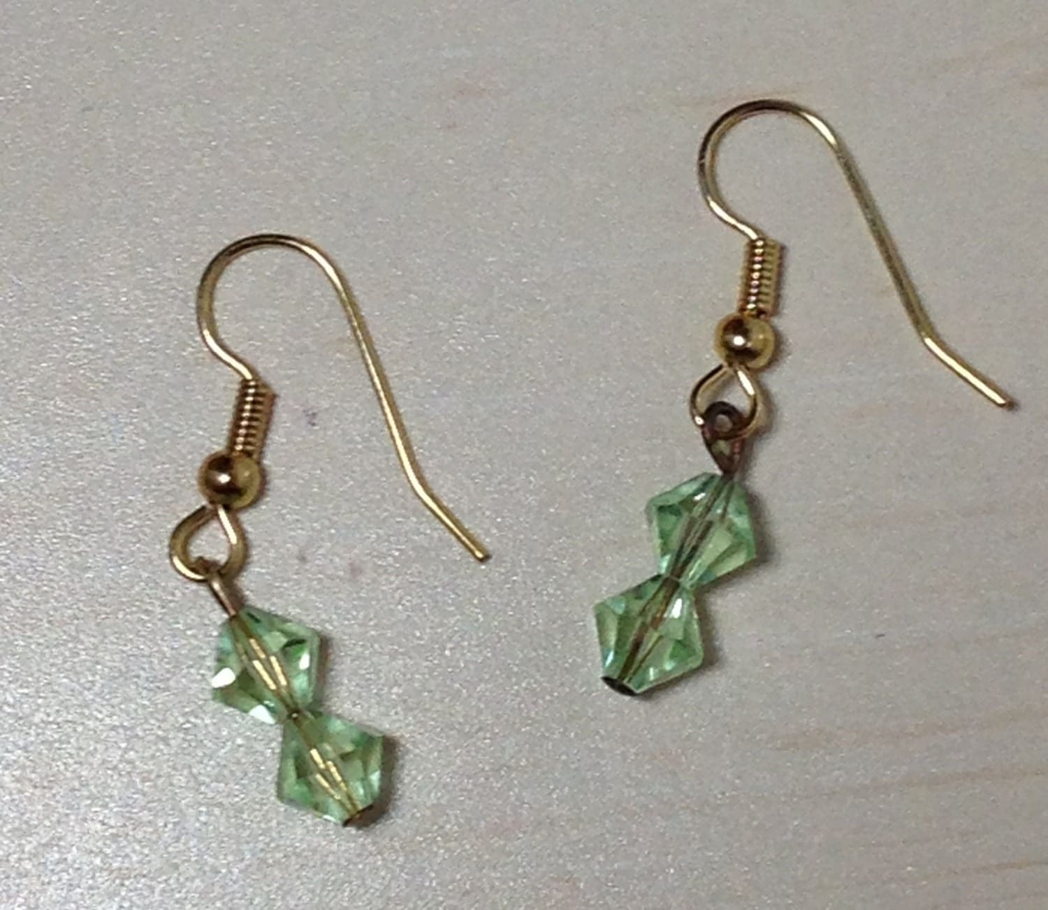 Green crystal dangle gold fish hook earrings by coastalremakes for Gold fish hook pendant