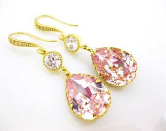 Light Pink Earrings Swarovski Crystal Earrings Rosaline Earrings Blush Pink Earrings Bridesmaid Earrings Bridal Earrings Gold Earrings(E172)