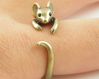 Adjustable ring with silver or bronze Mouse