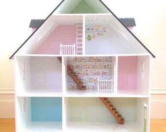 Doll House - Dollhouse, Wooden Dollhouse, House, Dollshouse, A Frame Doll House, Wooden Doll House for Girls, Dollhouse and Miniatures