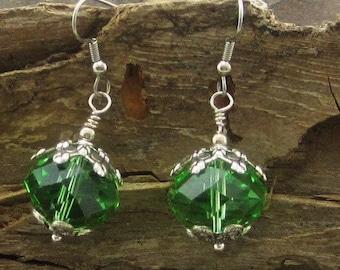 Crystal Drop Earrings Green - Leverback Earrings, Crystal Dangle Earrings, Cute Earrings, Crystal Earrings, Silver Earrings