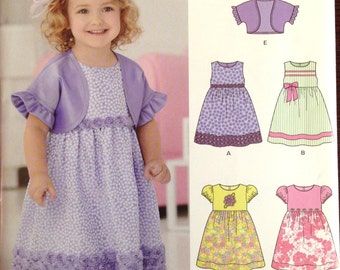 New Look 6254 - Little Girl's Dress with Shrug Jacket - Size 1/2 - 4