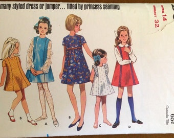 Butterick 5088 - 1960s Era Girl's High Fitted Dress or Jumper with Princess Seams - Size 14