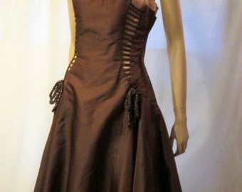 1950's Unusual Brown and Pink Gown with Interesting Details