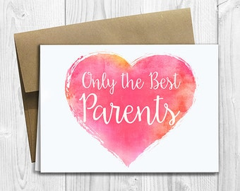 PRINTED CUSTOM Only the Best Parents Get Promoted to Grandparents Pregnancy Announcement 5x7 Greeting Card - Cute Expecting Watercolor Heart