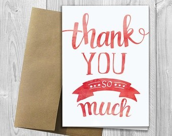 PRINTED Thank You so Much 5x7 Greeting Card - Watercolor Thank You Note Notecard