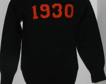 Class of 1930 Princeton University Heavy Wool Soccer Player's Sweater