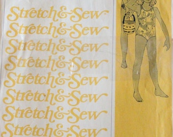 Vintage 1976 UNCUT Sewing Pattern. Girls Racing Swim Suit - Bathing. 'Stretch & Sew 1252'. Age 2-12