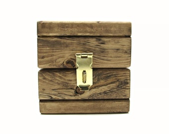 Rustic Small Wooden Storage Box - Handmade Little Wood Cube Box - Unique Jewelry Gift Box with Latch - Country Chic Ring Box