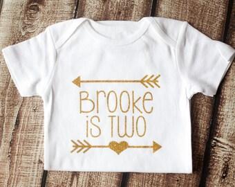 Second Birthday Shirt, Onesie, Personalized Birthday Shirt, 2nd Birthday Outfit, 2nd Birthday, Monogramed Custom Gold Glitter Arrow, Tutu