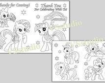 My Little Pony Birthday Party Thank you coloring pages, activity, PDF file