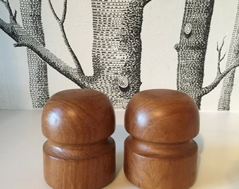 Vintage Danish Salt and Pepper Shakers Teak