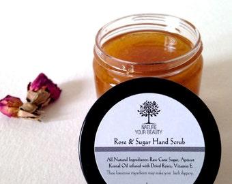 Rose & Sugar Hand Scrub, Sugar Scrub, Moisturizing Hand Scrub, Rose Scrub