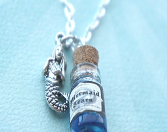 mermaid's tears necklace- vial necklace, potion necklace, mermaid necklace