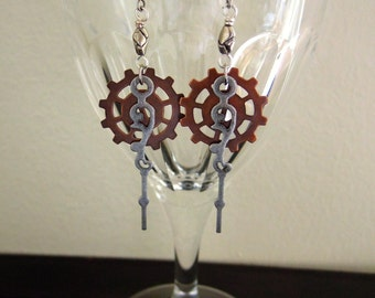 Steampunk Earrings, Mixed Gears, Copper with Silver Watch Hand