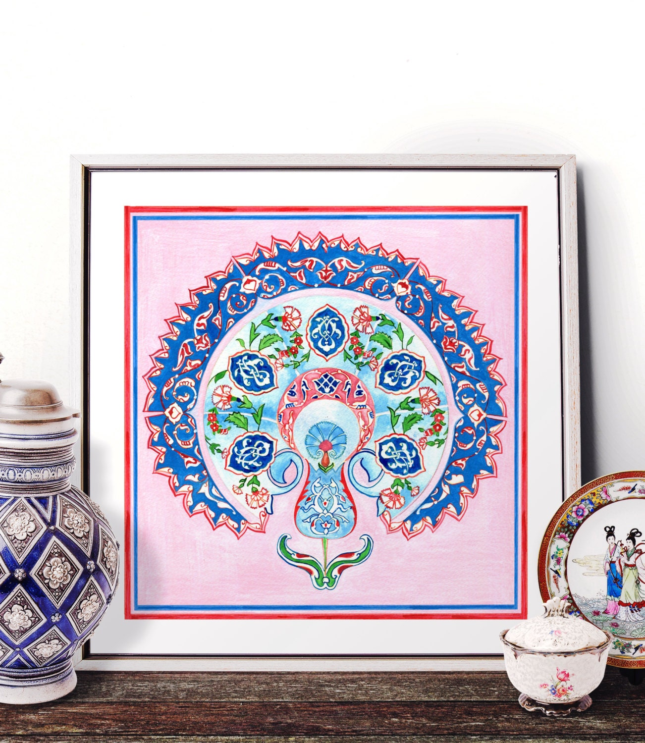 Traditional Turkish Ottoman Red Flower Home Decor Mosaic: Traditional Turkish Blue Tulip Watercolor Painting Ottoman