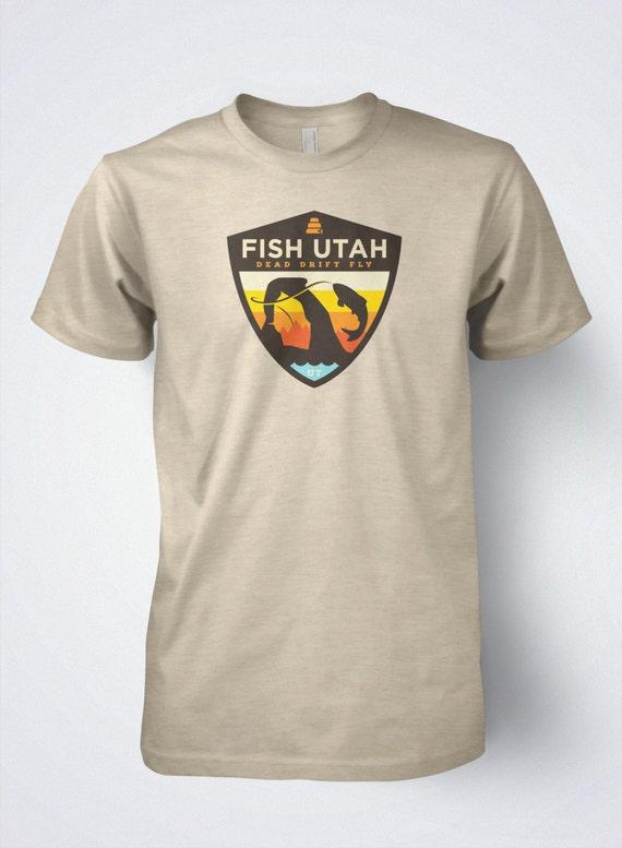 Fly fishing t shirt fish utah retro by dead drift fly fishing for Fly fishing shirt
