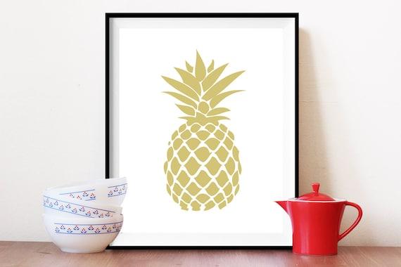 Pineapple Print Kitchen Art Print Gold Pineapple By