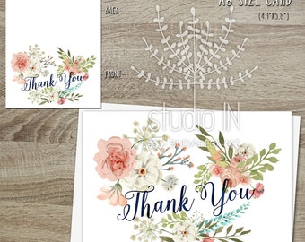 Thank You Card, Floral Thank You Card Set, Flower stationery, wedding thank you card, Birthday Thank you card, set of 3 thank you card,