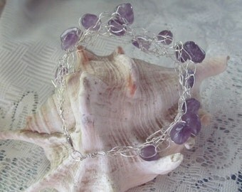 Sterling Silver Crocheted Wire Bracelet with Amethyst Stones