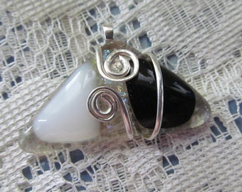 Fused Glass Pendant using Sterling Silver Wire for wrapping and Bail