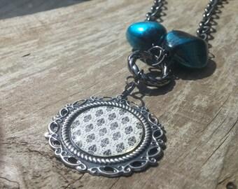 blue green damask pendant necklace