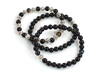 Black Onyx Beaded Stretch Bracelets