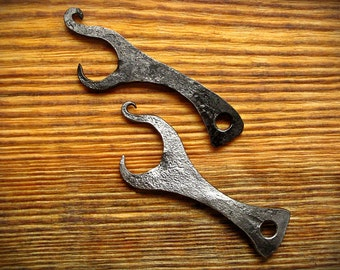 Forged iron bottle opener, blacksmith hand made key fob, keychain, beer accessories, gifts for beer lovers, viking, medieval, pagan