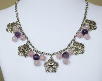 Blossom, Rose Quartz, Amethyst, Necklace, Statement Necklace, OOAK