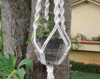 "natural macrame plant hanger 43"" ,pot holder, hanging planter indoor or outdoor / medium sized,cotton cord plant hanger"