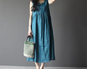 Ultramarine linen sleeveless dress-small V neck linen dress-women sundress-loose dress-maxi dress-plus size dress-holiday dress