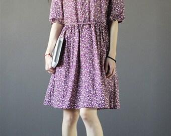 Light purple with floral cotton dress-half sleeve dress-loose dress-Knee-length dress-Peter Pan collars dress-holiday dress