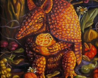 "Armored Devil - Original Armadillo Painting with Fruits Vegetables and Flowers- Surreal Southern Wildlife Art - 11"" x 11"""