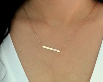 Skinny Gold Bar Necklace / Long Bar Monogram Necklace, Personalized Jewelry Initial Pendant / Horizontal Nameplate Thin Bar Necklace