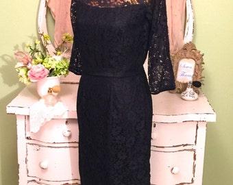50s Black Wiggle Dress, 1950s Dress, Formal Vintage Dress, MS-M, Black Lace Dress, Opera Dress, Vintage Party Dress, Classic Black Dress